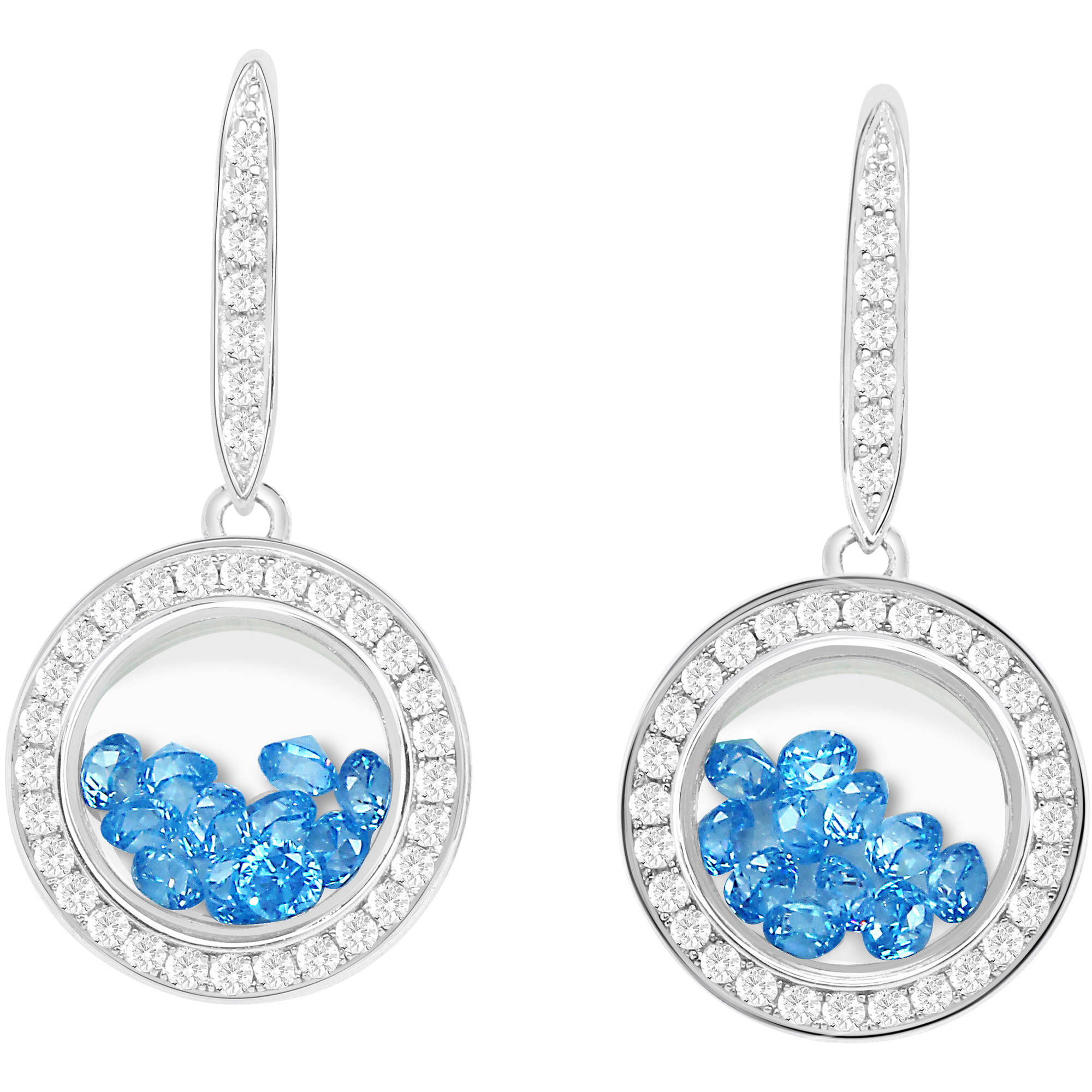 Chetan Collection Floating Blue CZ Sterling Silver Designer Earrings