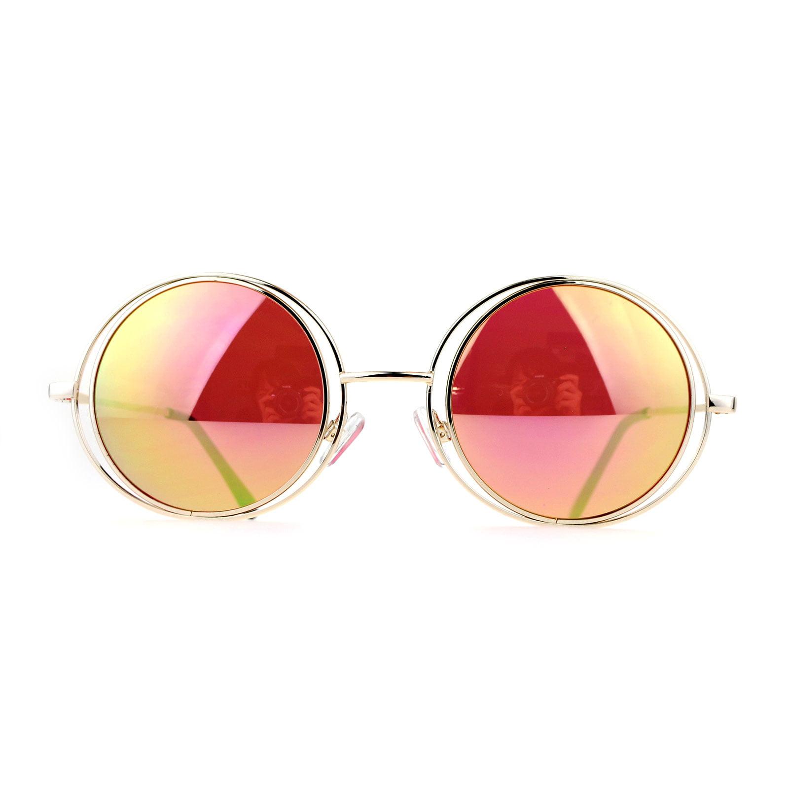 SA106 Mirrored Double Round Metal Rim Circle Lens Hippie Sunglasses ...