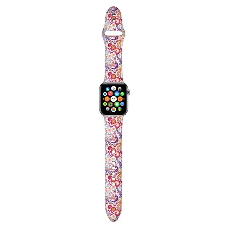 Apple Watch Bands 42mm Soft Silicone Wristband with Full Body Clear Hard Temper Glass Screen Protector for iWatch Apple Watch Series 1/2/3/Nike+ - Black Marble - image 2 of 3