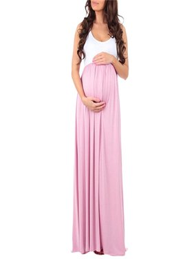 70856698c99d7 Product Image Women's Sleeveless Ruched Color Block Maxi Maternity Pregnancy  Splicing Dress