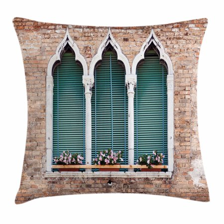 Venice Flower - Venice Throw Pillow Cushion Cover, Traditional Ancient Gothic Style Windows with Flower Pots on Brick Wall, Decorative Square Accent Pillow Case, 18 X 18 Inches, Light Brown White Blue, by Ambesonne