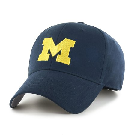 Men's Navy Michigan Wolverines Team Logo Basic Adjustable Hat - - Michigan Wolverines Cover