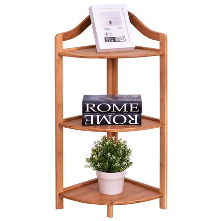 Gymax 3 Tier Bamboo Free Standing Corner Rack Tower Organizer Shelving Shelf