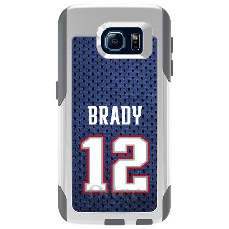 Distinctink  Custom White Otterbox Commuter Series Case For Samsung Galaxy S6   Brady 12 Jersey