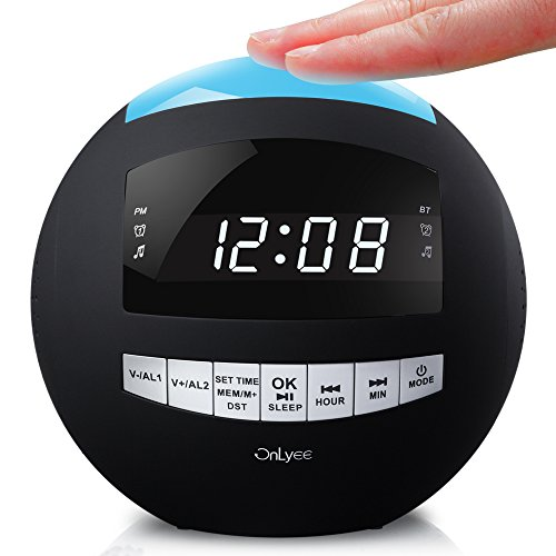 OnLyee Digital Dimmable Alarm Clock Radio & Wireless Bluetooth Speaker with Dual USB