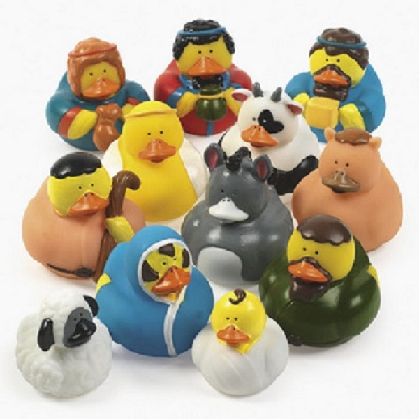 Lot of 12 Nativity Scene Rubber Ducks Christmas Holiday