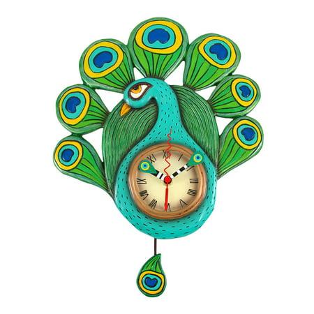 Allen Designs Pretty Peacock Pendulum Wall Clock - image 5 de 5