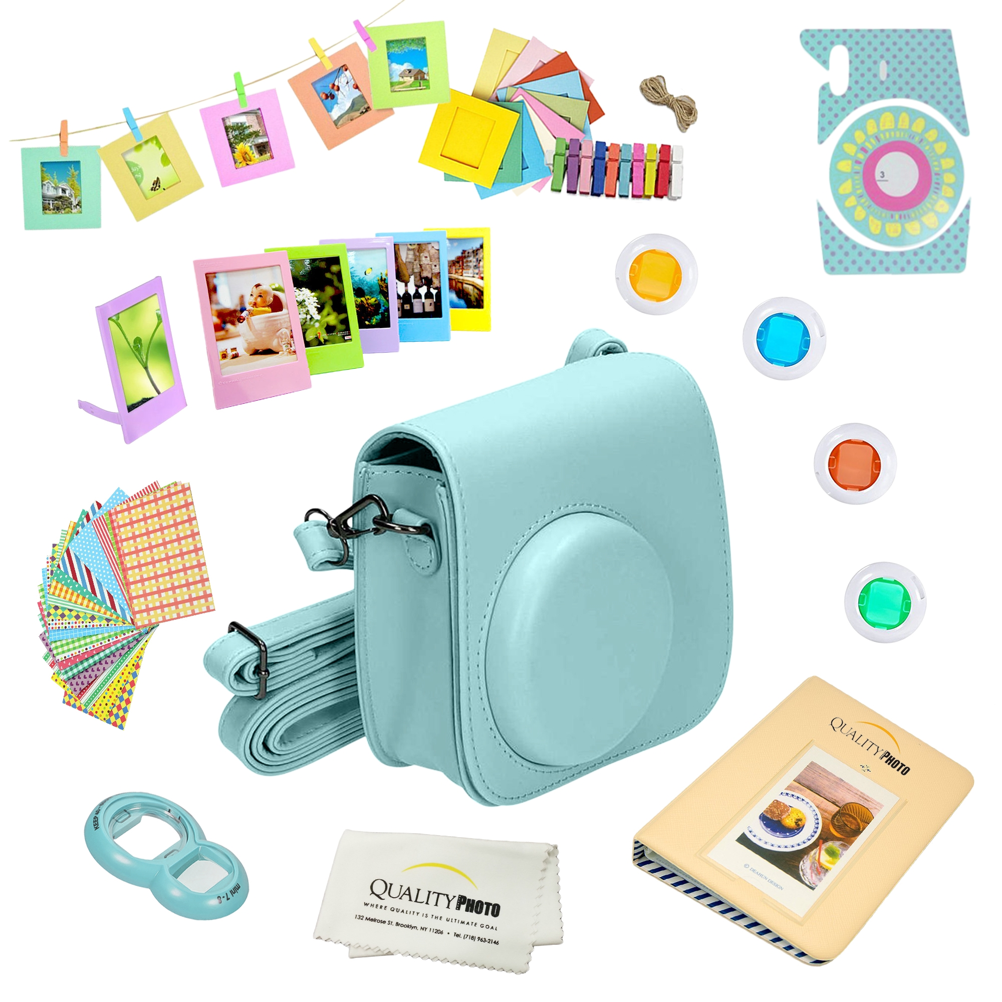 Fujifilm Instax Mini 9 Accessories kit (Ice Blue ) Includes a 12-piece Bundle For the Fujifilm Instax Mini 9 Instant Camera (Latest model 2017 Release.)