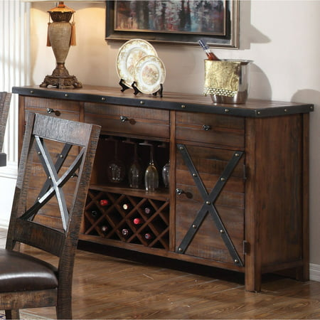 ACME Earvin Server, Weathered Cherry (Cherry 3 Drawer Buffet Server)