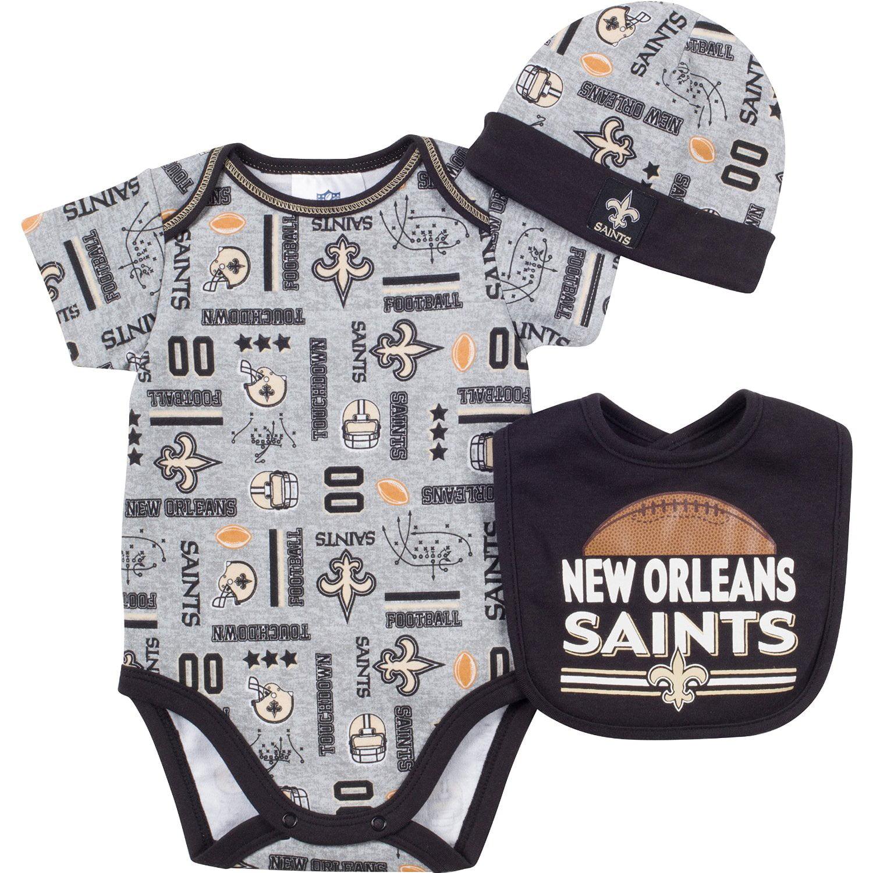 NFL New Orleans Saints Bodysuit, Bib & Hat Set Infant Toddler Choose Your Size by Gerber