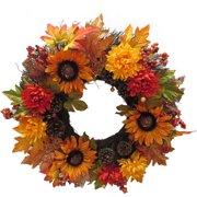 "24"" Sunflower & Mum Wreath Fall Harvest Halloween Decoration"