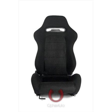 Cipher CPA1013 Black Cloth with Suede Insert Universal Racing Seats, Sold as a Pair (Insert Racing Seats)