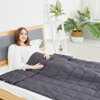 """Cotton Weighted Blanket,Gery,48""""x72"""",15lbs"""
