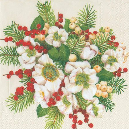 Ideal Home Range Luncheon Decorative Paper Napkins, Hellebores Bouquet on Cream, 20 Count](Cream Napkins)