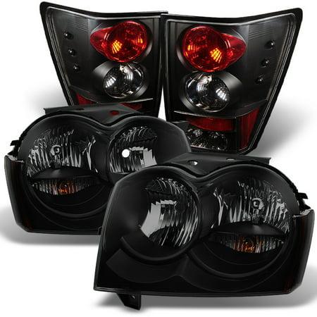 Fit 2005-2006 Jeep Grand Cherokee Black Smoked Headlights+Tail Lights Lamps (2015 Jeep Grand Cherokee Smoked Tail Lights)