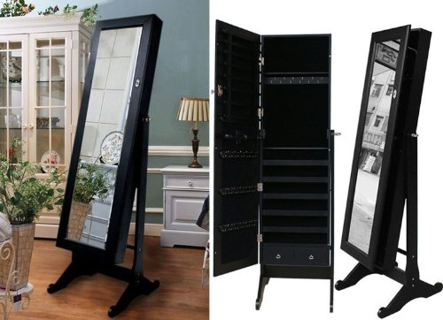 Black Mirrored Jewelry Cabinet Armoire Stand, Mirror ...