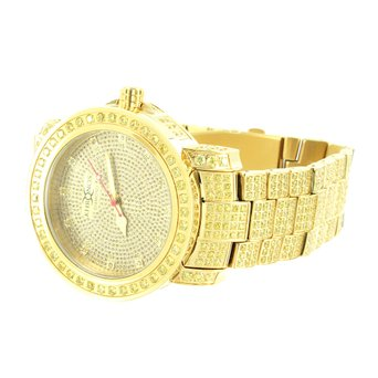 Gold Finish Genuine Yellow Diamond Khronos Jojino Analog Vintage Style Men Watch