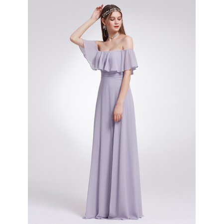 Ever Pretty Womens Elegant Long Maxi Off Shoulder Chiffon Summer Beach Wedding Guest Bridesmaid Dresses With High Slit For Women 07171 Lilac Us 10