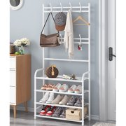 3-in-1 Entryway Coat Rack, 4-Tier Hall Tree 67 Inch with Storage Bench and Coat Racks Entryway Storage Shelf Organizer with 8 Hooks, Large Size, Furniture with Metal Frame