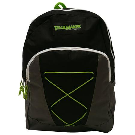 TrailMaker Boys Girls Gray Lime Padded Adjustable Straps Bungee Backpack