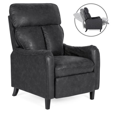Best Choice Products Upholstered Faux Leather English Roll Arm Chair Lounge Recliner Seat Home Furniture for Living Room, Bedroom with 160-Degree Reclining, Leg Rest,