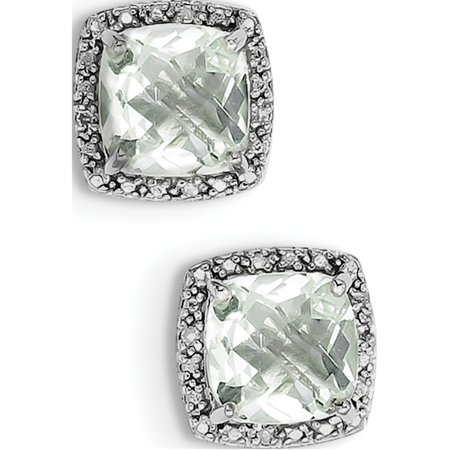925 Sterling Silver Rhodium-plated Green Quartz and Diamond (13x13mm) Earrings - image 2 of 2