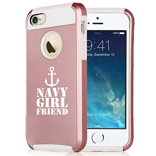 For Apple iPhone 6 Plus 6s Plus Rose Gold Shockproof Impact Hard Soft Case Cover Navy Girlfriend Anchor (Rose Gold-White)