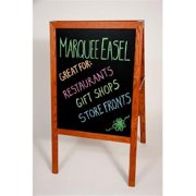 Crestline 312-BBA Marquee Easel - Stained Hardwood, Two Black Chalkboards