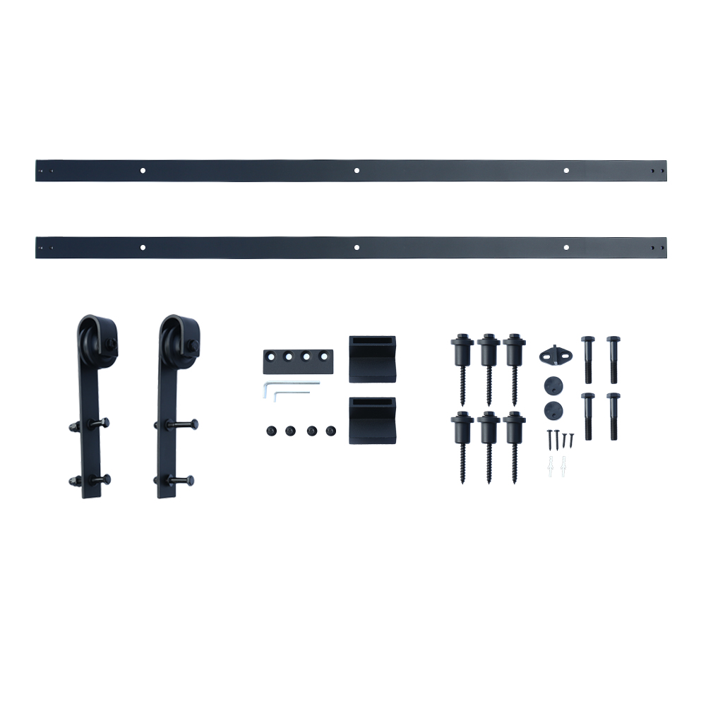 Satin Stainless Steel 304 Durable 8FT Rustic Black Sliding Barn Wood Door Sliding Track Hardware Bigbarn Wheel Kit