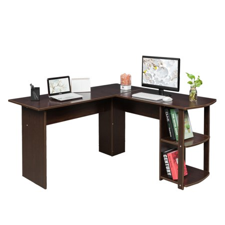 Ktaxon L-Shaped Computer Desk Wood Office Corner Laptop Study Table 2-Layer Bookshelves Apollo Corner Computer