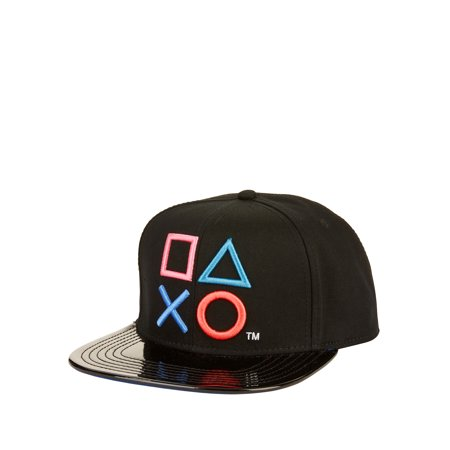 Black Sony PlayStation Embroidered Snapback Cap With Contrasting Faux Patent Leather Flat Bill