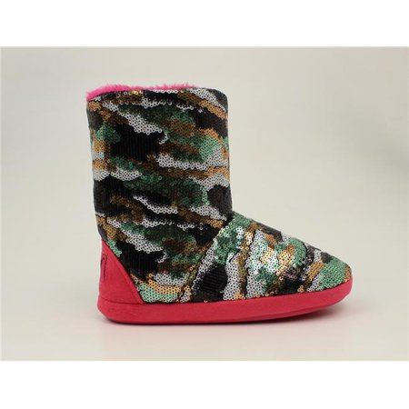 Blazin Roxx 5757429-XS Youth Girls Camo Sequin Boot Slippers, Hot Pink - Extra Small Hop Pink Camo