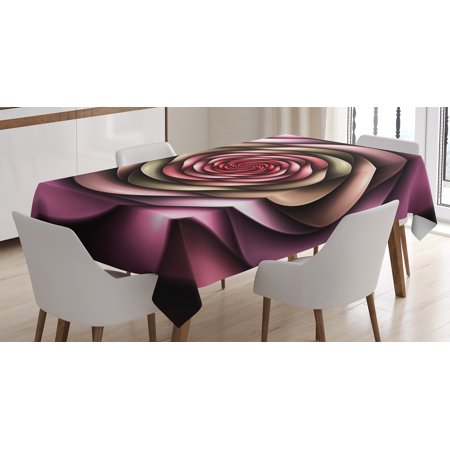 Spires Decor Tablecloth, Rose Petals Curved Winds around Fixed Center Point at Increasing Digital Decor, Rectangular Table Cover for Dining Room Kitchen, 52 X 70 Inches, Multi, by Ambesonne (Center Table Decor)