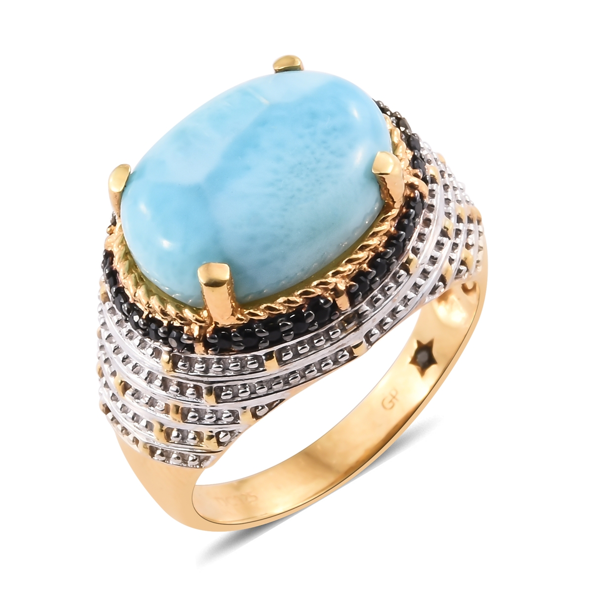 Princess Kylie Natural Larimar Clear Cubic Zirconia Crab Pendant Sterling Silver