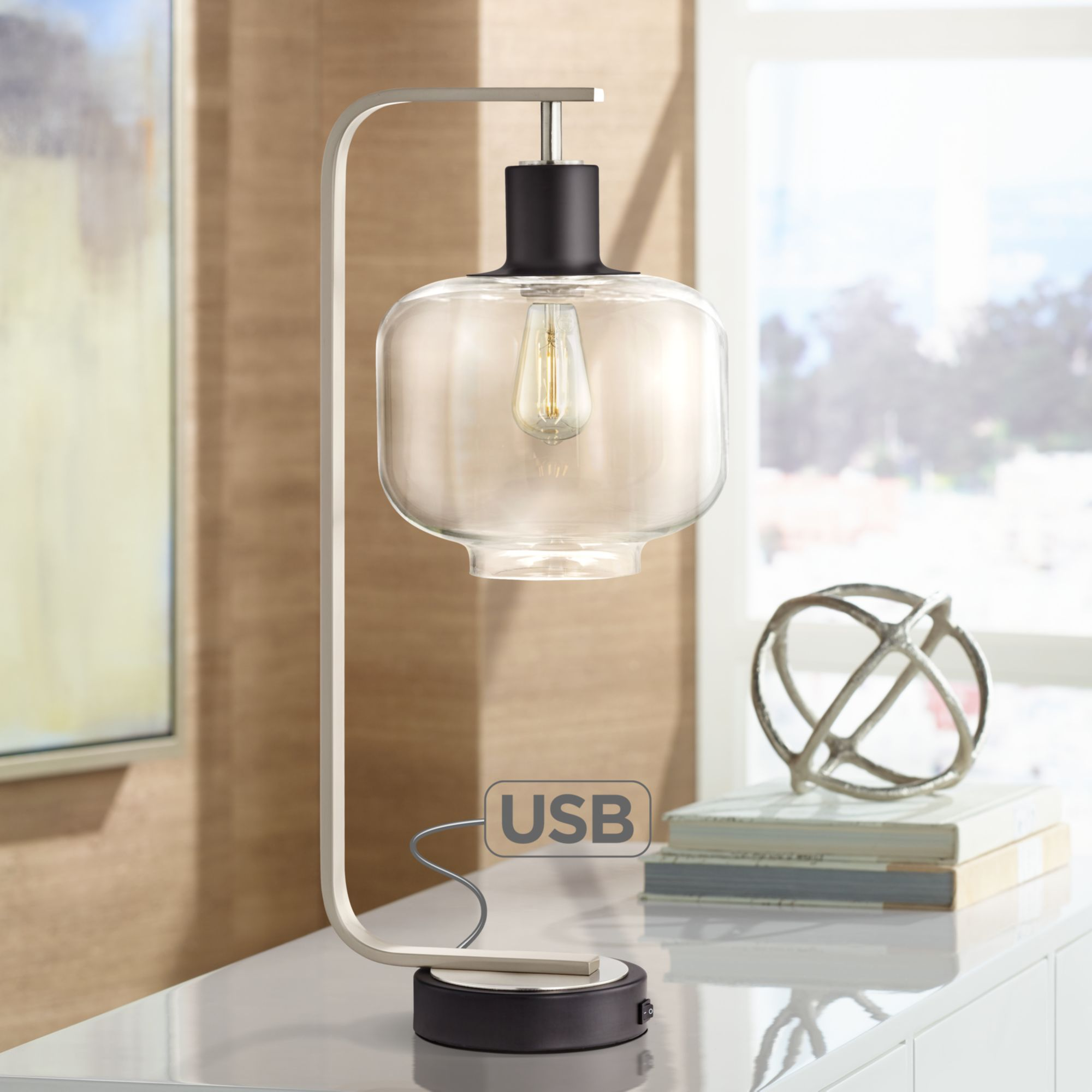Franklin Iron Works Farmhouse Industrial Table Lamp With Usb Charging Port Brushed Nickel Glass Shade For Bedroom Bedside Office Walmart Com Walmart Com