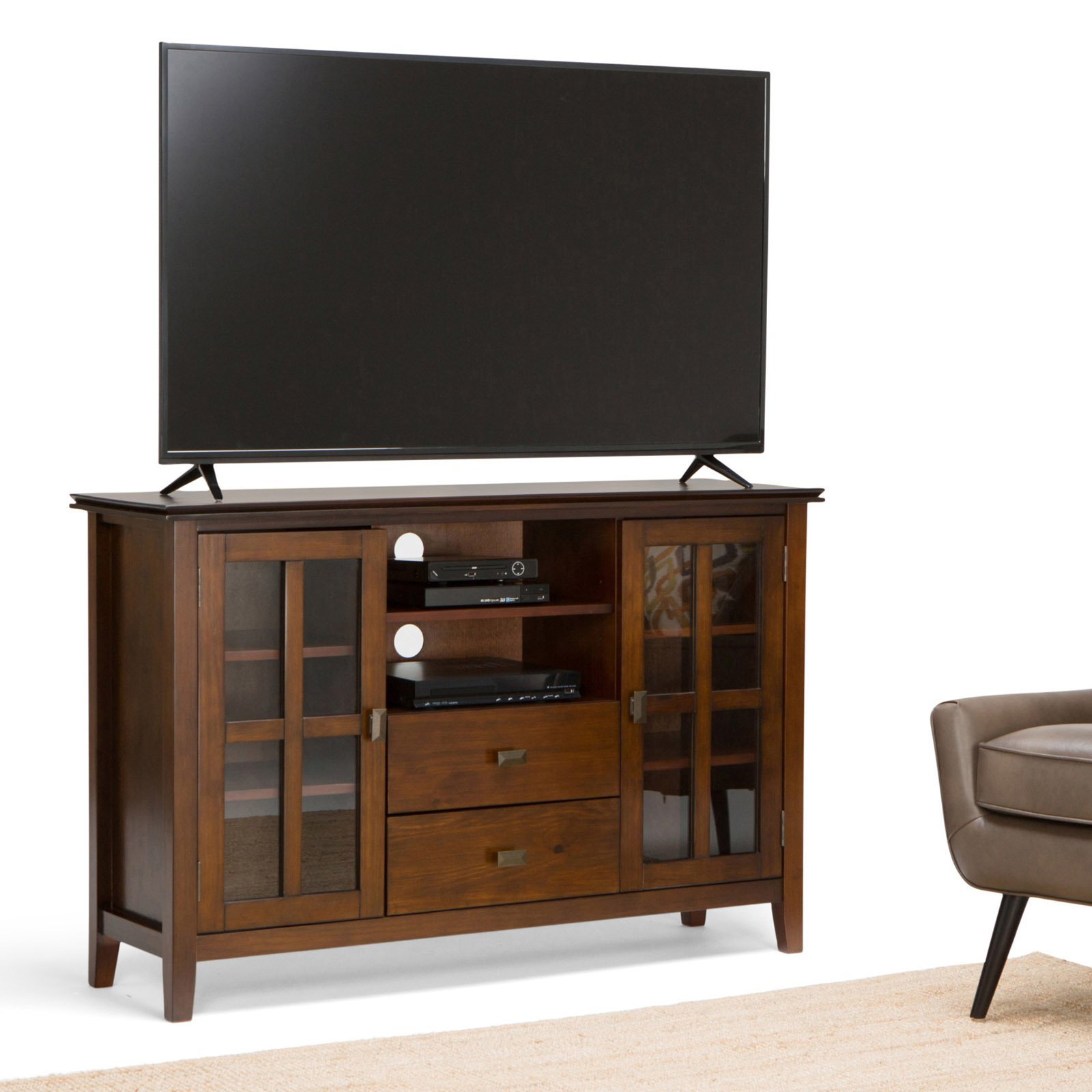 Simpli Home Artisan Tall Tv Media Stand Walmart Com