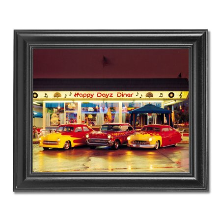 Old 1950 Cars with Flames Happy Dayz Diner Photo Wall Picture Black Framed](Happy Halloween Photo Frame)