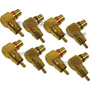 Male to Female Gold Audio RCA Right Angle Connector Plug Adapter (8/Pack)