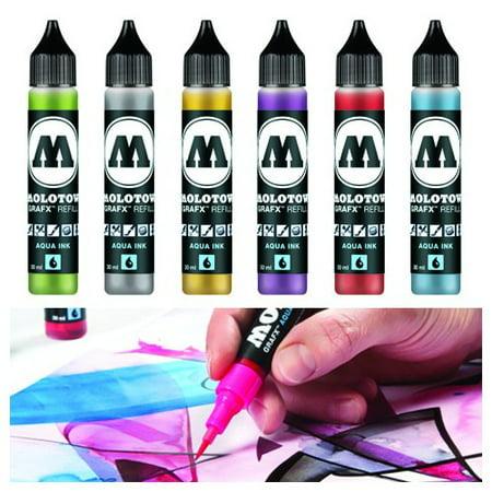 Craft Ink Refill - CHARTPAK, INC. 693416 MOLOTOW GRAFX AQUA INK 30ML REFILL YELLOW GREEN