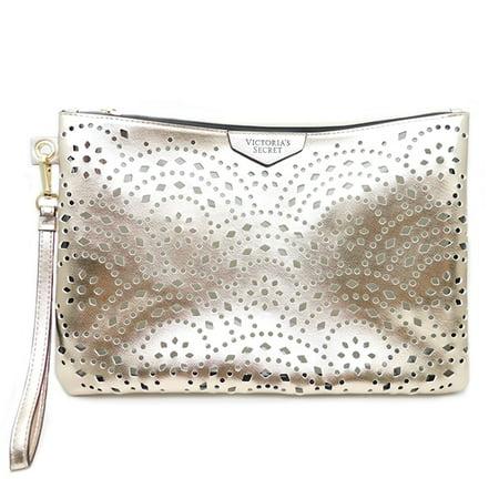 Victoria's Secret Rose Gold Laser Edge Cut Pouch Wristlet Purse with Zipper ()