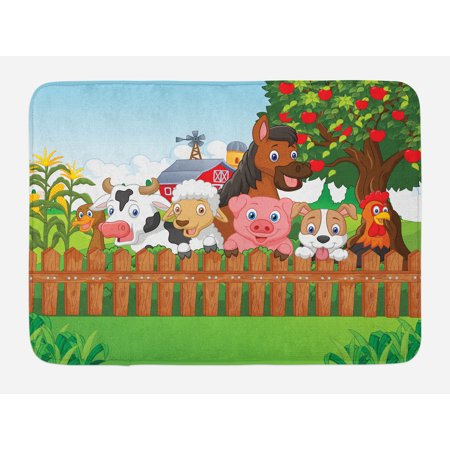 Cartoon Bath Mat, Collection Cute Farm Animals on Fence Comic Mascots with Dog Cow Horse Kids Design, Non-Slip Plush Mat Bathroom Kitchen Laundry Room Decor, 29.5 X 17.5 Inches, Multicolor, - Horse Mascot