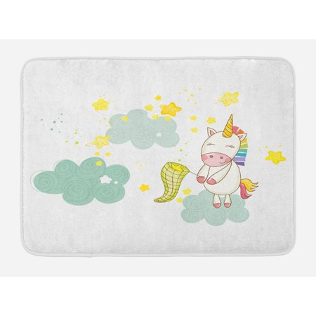 Unicorn Bath Mat, Baby Mystic Unicorn Girl Sitting on Fluffy Clouds and Hunting Nursery Image Print, Non-Slip Plush Mat Bathroom Kitchen Laundry Room Decor, 29.5 X 17.5 Inches, Green Yellow, - Hunting Nursery Decor
