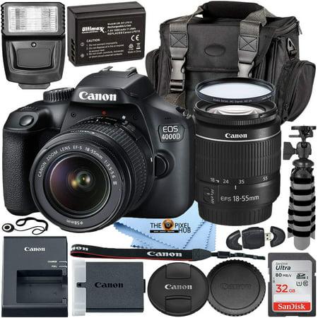 Canon EOS 4000D with EF-S 18-55mm f/3.5-5.6 III Lens + 32GB + EXT BATT Bundle