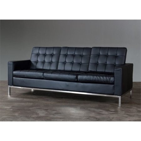 Bowery Hill Faux Leather Tufted Sofa in Black - Walmart.com