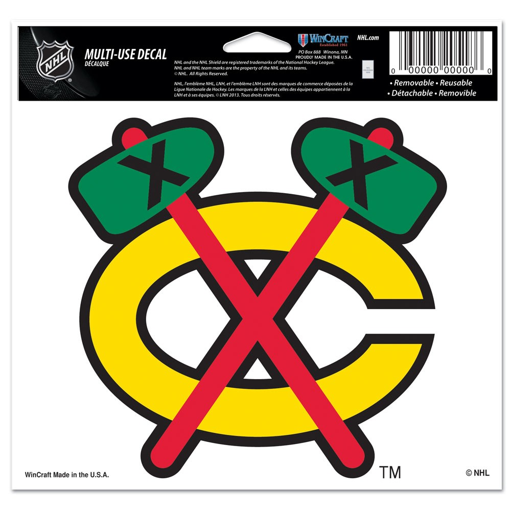 Chicago Blackhawks Official NHL 4 inch x 6 inch  Car Window Cling Decal by Wincraft