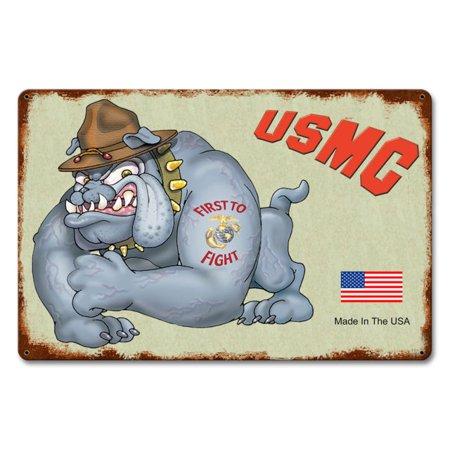 USMC Bulldog Metal Sign, United States Marine Corps  CAP-0102