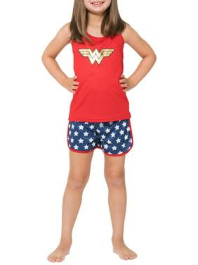 Girls' Wonder Woman Sporty Mesh 2 Piece Pajama Sleep Set (Little Girl & Big Girl)