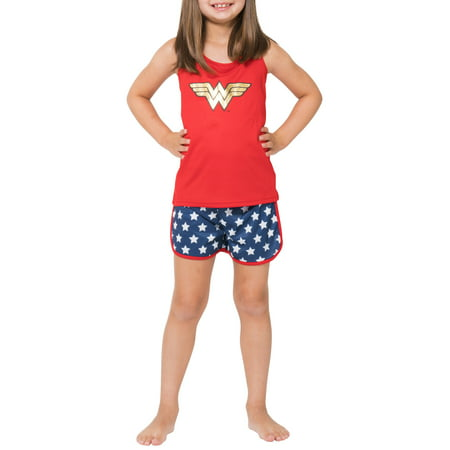 Girls' Wonder Woman Sporty Mesh 2 Piece Pajama Sleep Set (Little Girl & Big - Girls Wonder Woman Pajamas