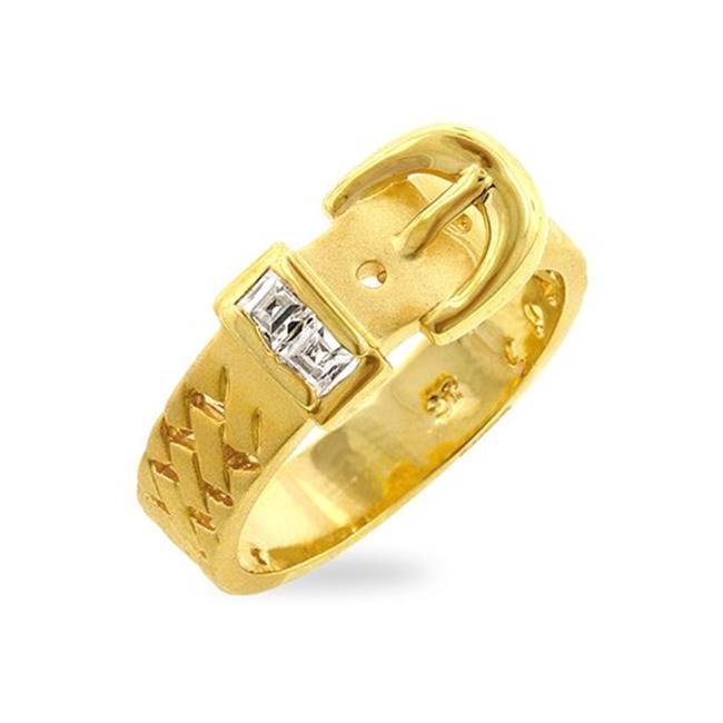 Icon Bijoux R07650K-C01-10 Golden Buckle Ring (Size: 10)