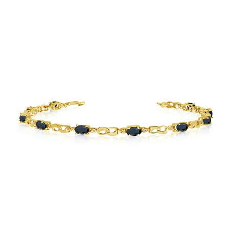 10K Yellow Gold Oval Sapphire and Diamond Link - Yellow Gold Sapphire Bracelet